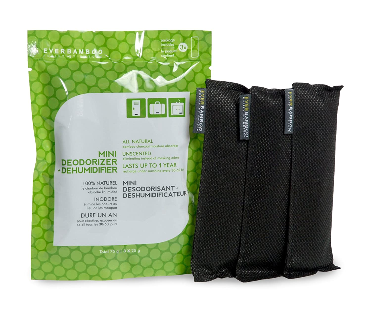 Ever Bamboo Mini Deodorizer & Dehumidifier Bag Set w/ Natural Bamboo Charcoal (3 x 25 g) (1) Ever Bamboo Inc.