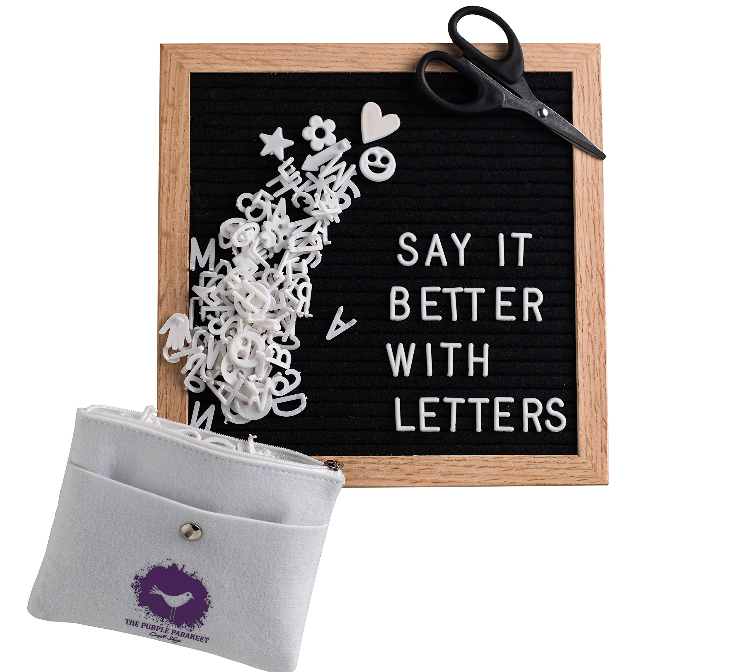 Letter Board - Black Felt Letter Board 10x10 with 340 Letters - Solid Oak Frame, Stand, Felt Bag, Scissors - for Home Decor, Offices & Cafes - Perfect for Special Occasions and Instaquotes