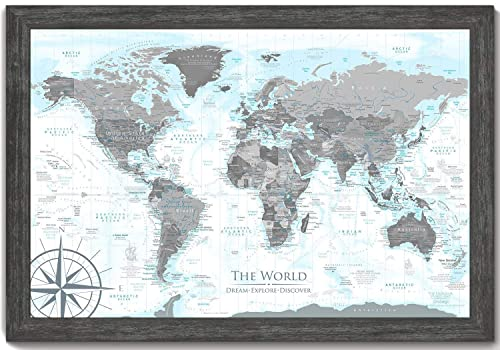 World Map in Black and White with ocean elevations in light blues – Use as a Wall Map or Push Pin Map – Framed Map – Designed by a Professional Geographer