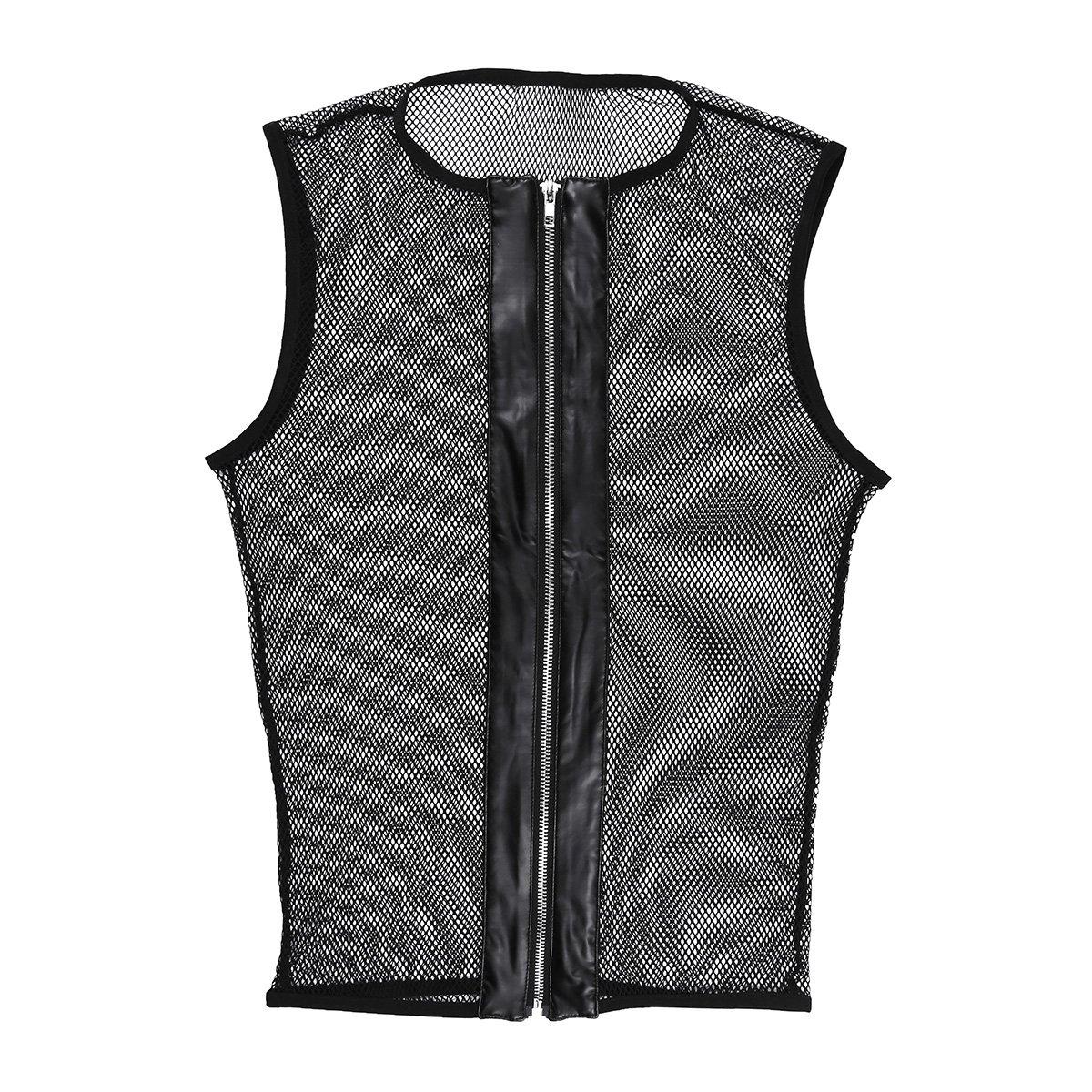 27e57323e6ae55 Agoky Men s Fishnet See-Through Tank Top Vest Mesh Muscle Zipper Tank Shirts   Amazon.co.uk  Clothing