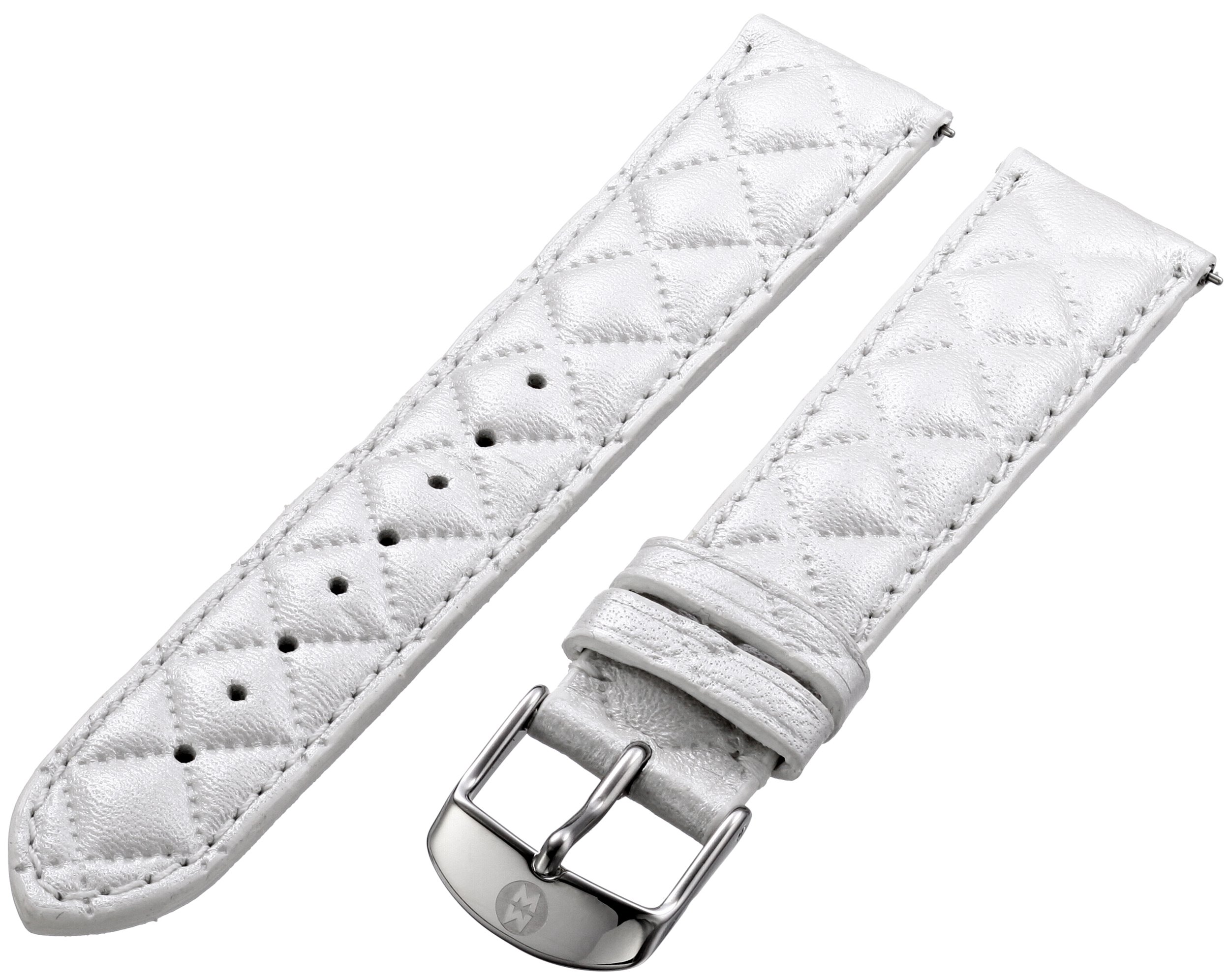 MICHELE Women's 16mm Quilted Leather Watch Band Color: Whisper White (MS16AA370156)