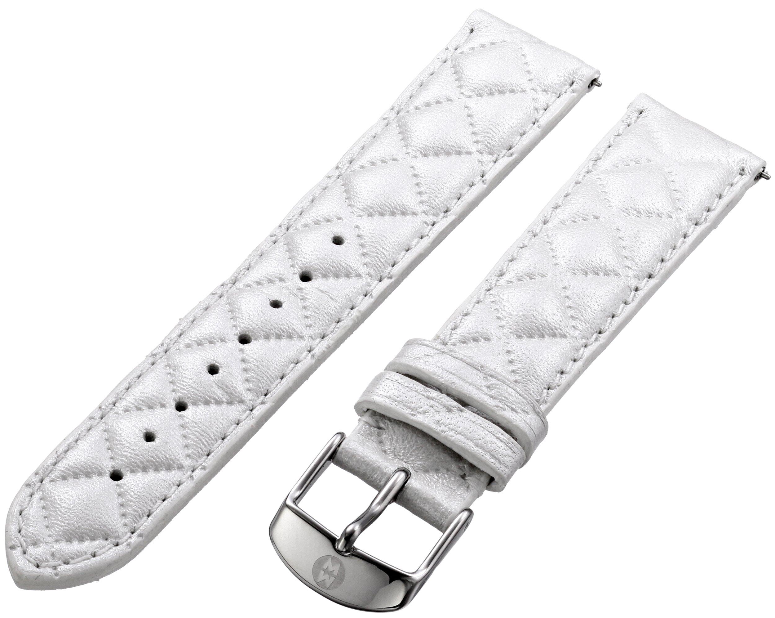MICHELE MS18AA370156 18mm Leather Calfskin White Watch Strap