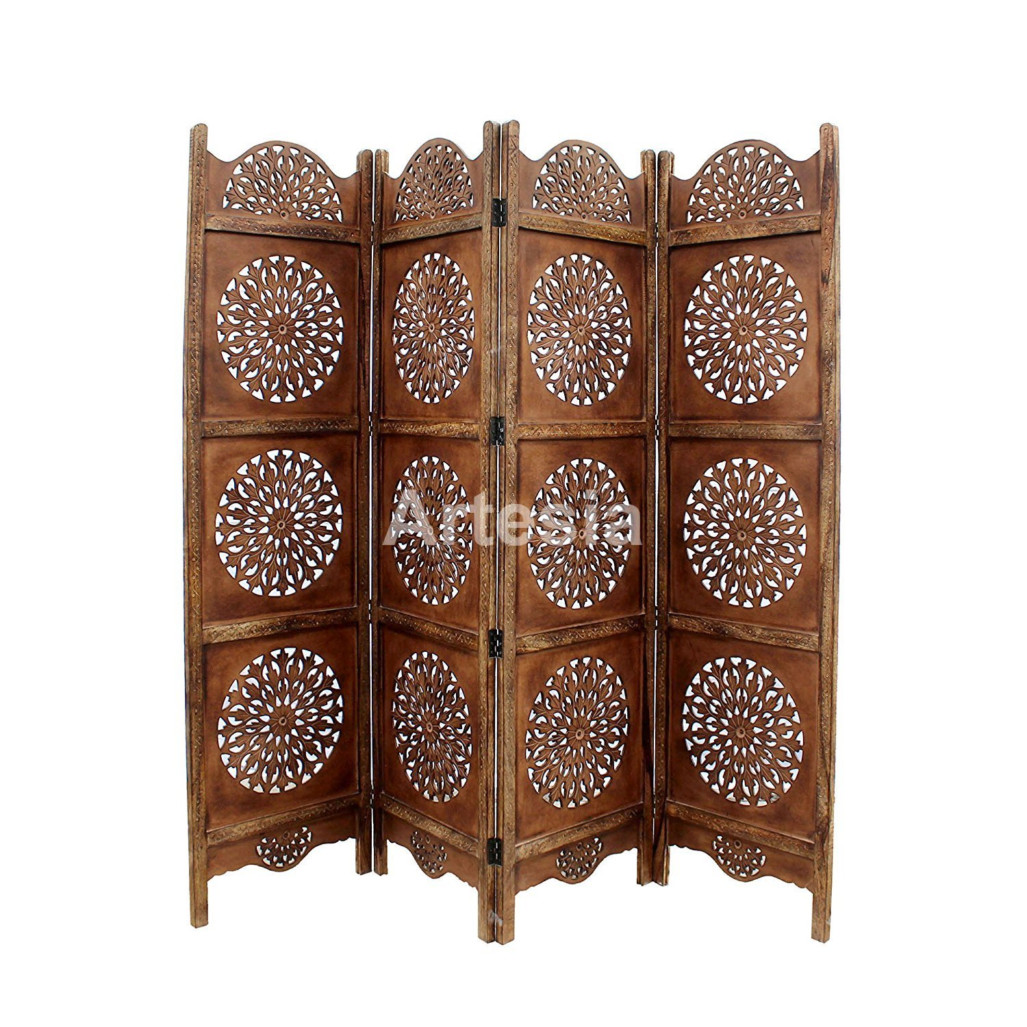 Artesia Handcrafted 4 Panel Wooden Room Partition, Wooden Screen