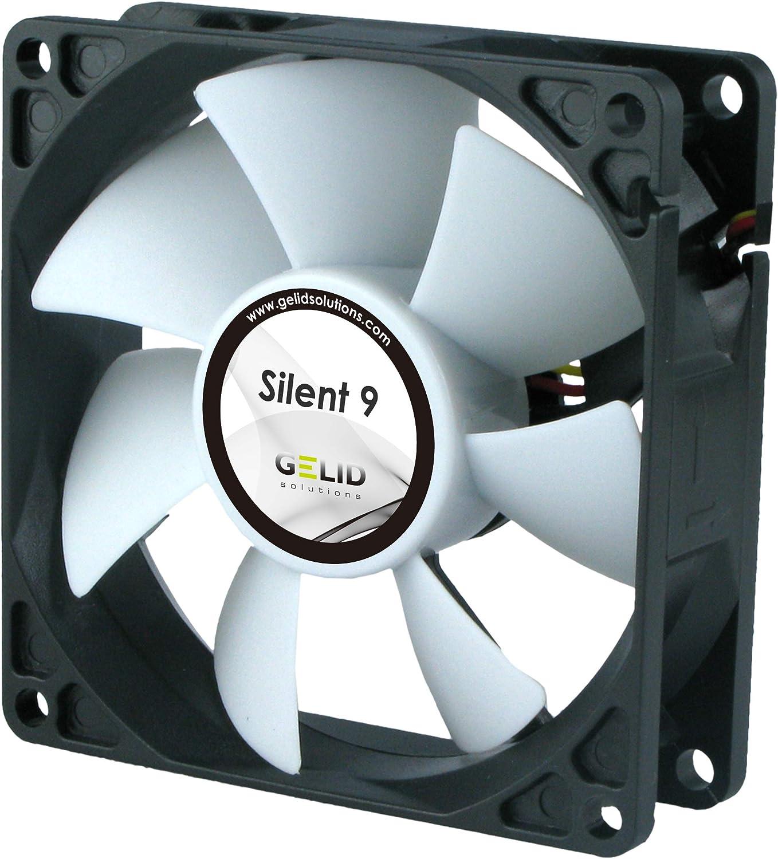 GELID Solutions Silent 9 de 4 pines de 92mm para la carcasa estándar | Operación silenciosa | Aspas del ventilador optimizadas