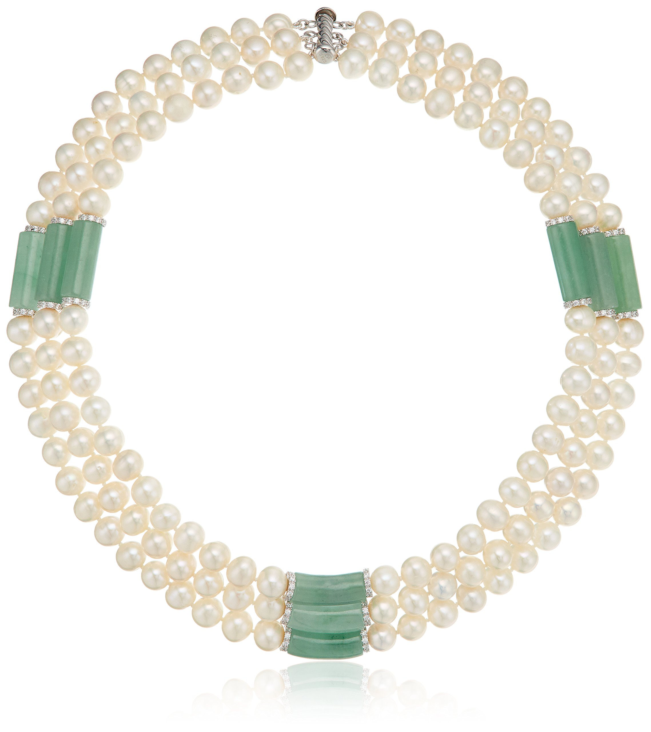 Sterling Silver Jade and Freshwater Cultured Pearl Strand, 17''