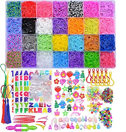New 9x Colourful Bands Charms Rubber Friendship Bracelet Making Set