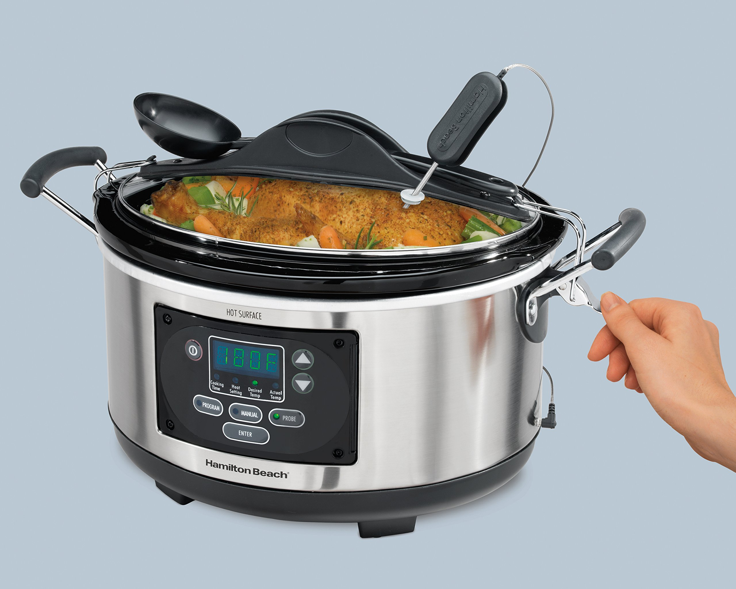Hamilton Beach (33967A) Slow Cooker With Temperature Probe, 6 Quart, Programmable, Stainless Steel by Hamilton Beach (Image #5)