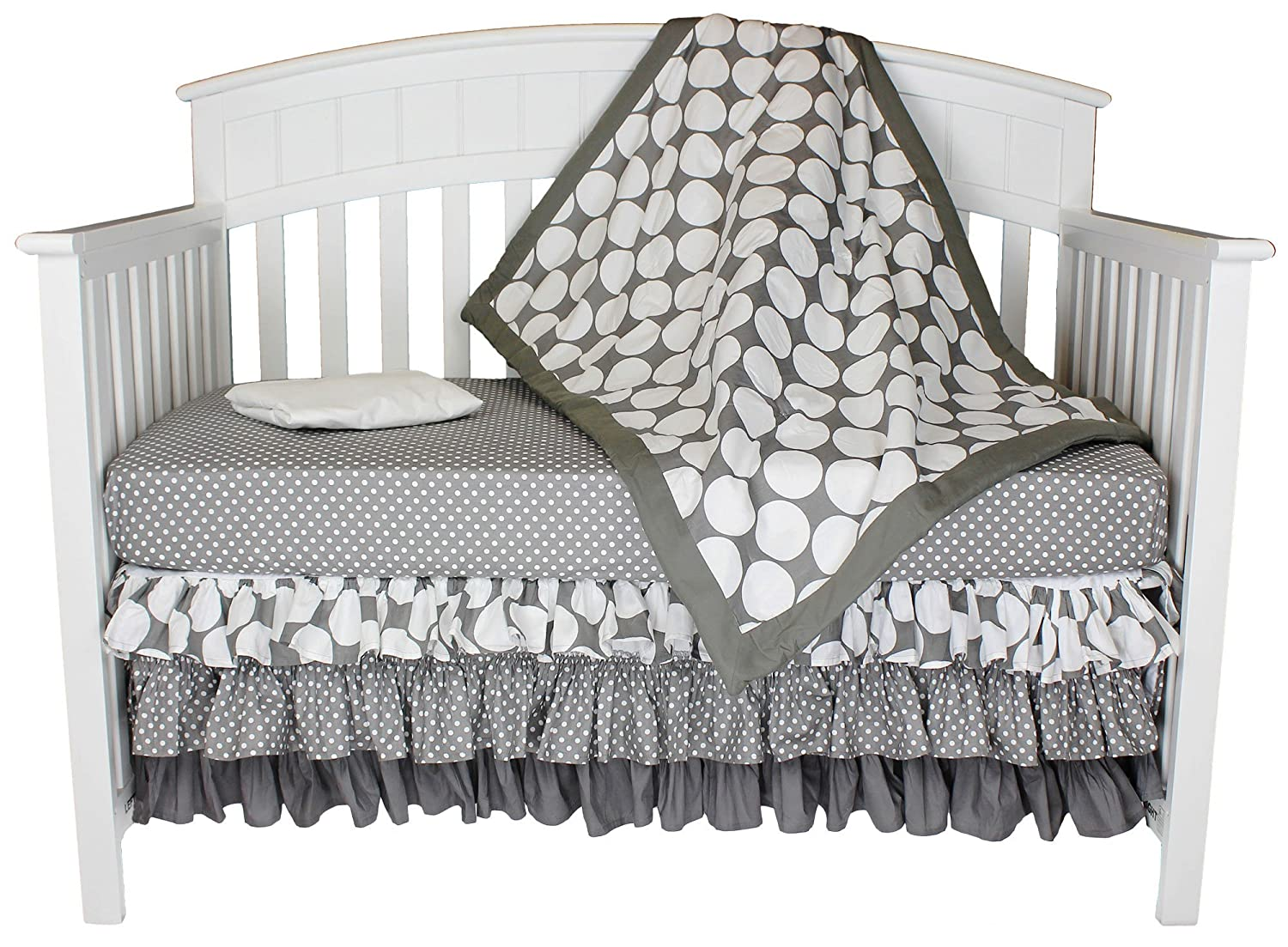 Grey With White Polka Dots 4-in-1 100% Cotton Baby Crib Bedding Set by Bacati by Bacati   B01AAX6K0K