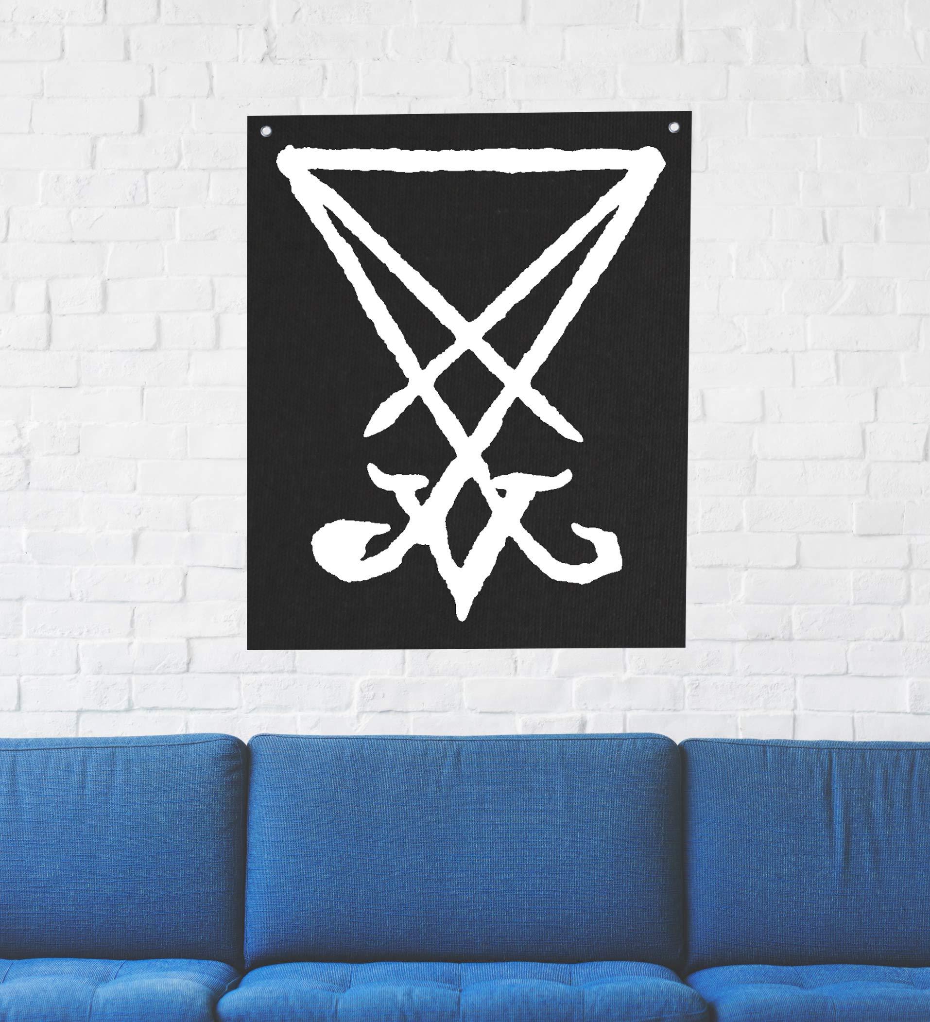 Sigil of Lucifer Wall Tapestry - Goat Skull Pentagram Demonic Devil Dragon Demon Evil Mendes Goat's Head Gothic Metal Occult Punk Satan Satanic Skeleton Voodoo Wicca Baphomet Leviathan Cross Inverted