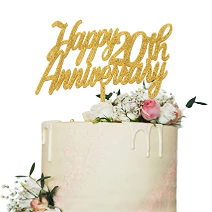 Amazon Happy 20th Anniversary Cake TopperGold Glitter Cheers To 20 Years Sign20th Birthday Wedding Party Decorations Toys Games