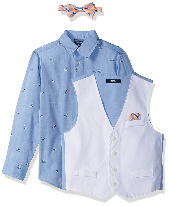 Nautica Boys 4-Piece Vest Set with Dress Shirt Vest and Pants Bow Tie