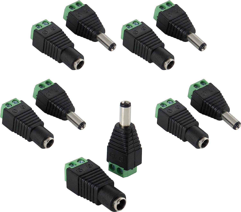 Poppstar - Adaptador de Corriente Continua (CC) 5,5x2,1mm (5 x Macho / 5 x Hembra) a Bloque Terminal de 2 Clavijas para Tiras de LED (por Ejemplo SMD 5050 3528 2835 5630)