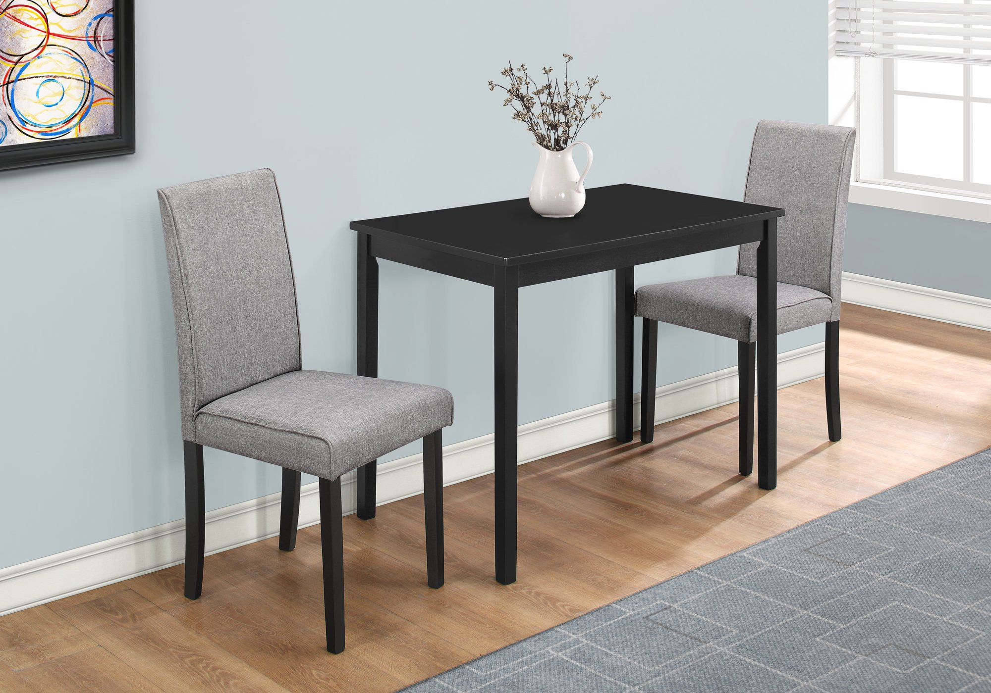 Monarch Specialties I 1016, Dining Set Set, Parson Chairs, Black/Grey, 3pcs