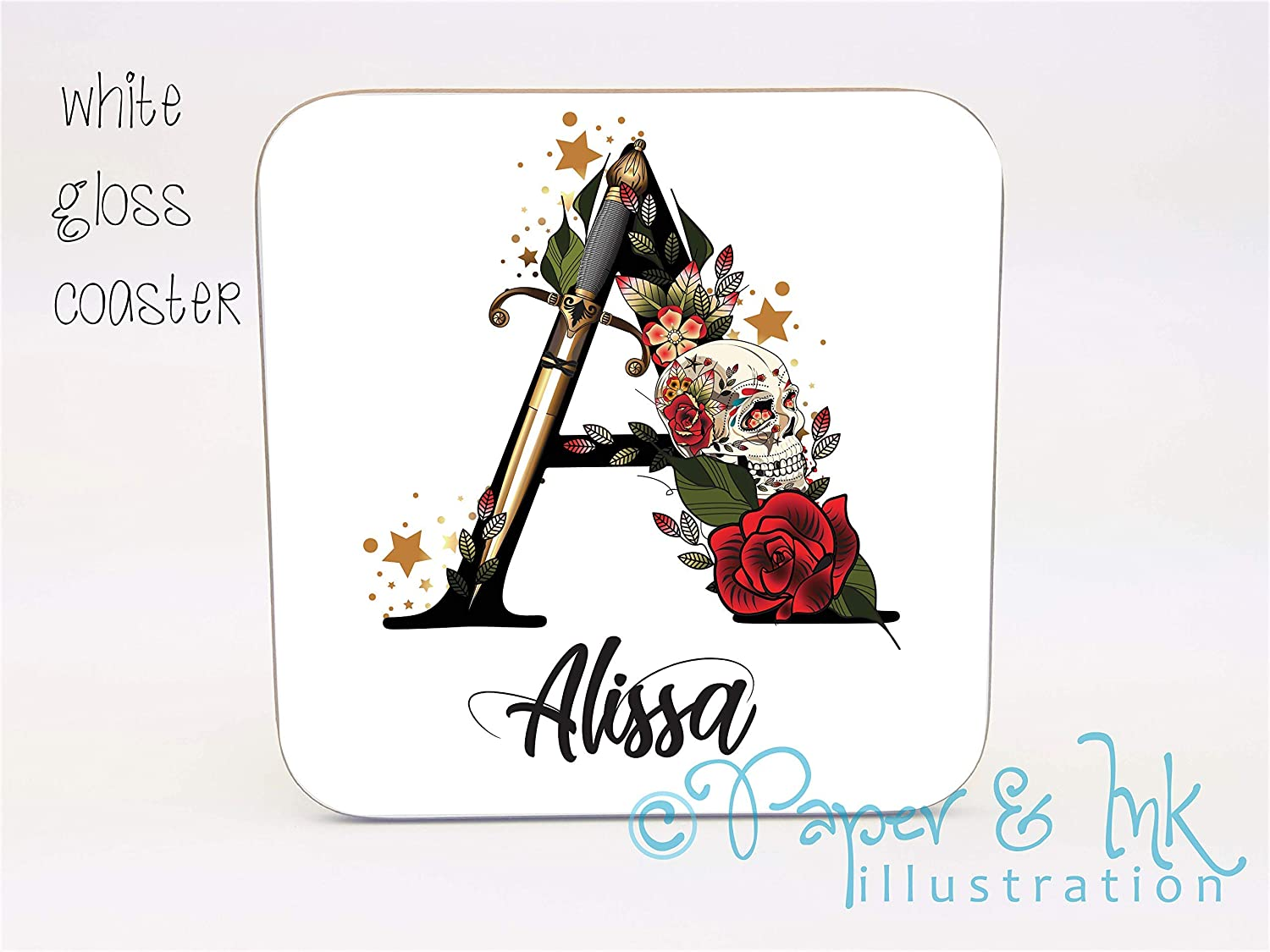 personalised stocking filler small gift coaster name initial letter gift idea skull roses letters stars