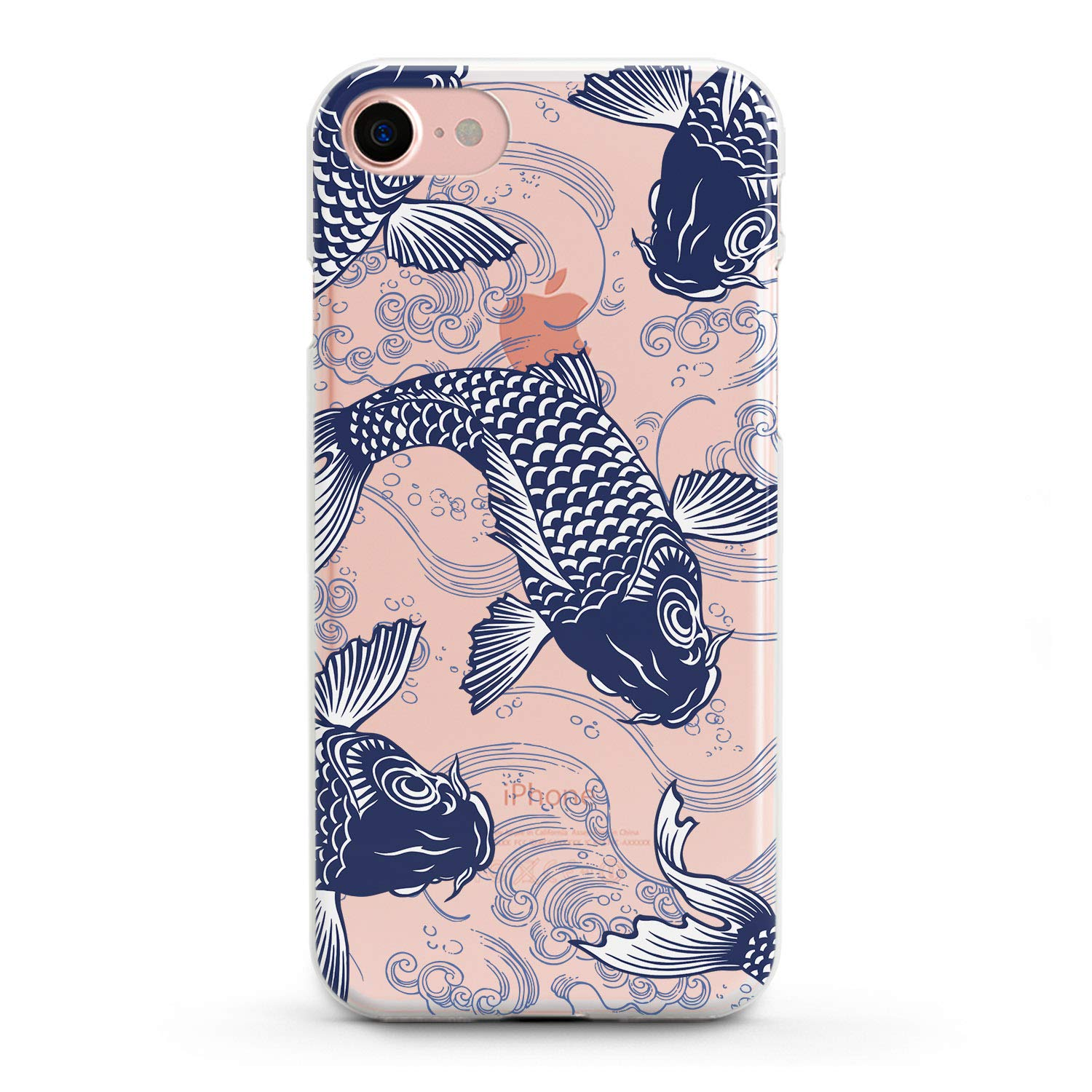 Lex Altern TPU iPhone Case X Max Xr 8 Plus 10 7 6s 6 SE 5s 5 Koi Fish Pattern Coi Cute Apple Phone Cover Silicone Blue Print Waves Protective Japanese Sea Girl Vintage Drawing Women Teen Clear Ocean