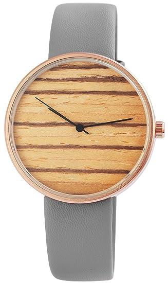 Reloj mujer gris efecto de madera analógico de cuarzo piel Reloj de pulsera