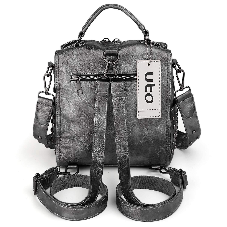 UTO dam dubbade liten ryggsäck konvertibel damryggsäck axelväska PU-läder Silvergrått