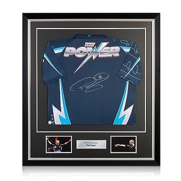 El poder Phil Taylor dardos camiseta firmada En Deluxe Negro Marco ...