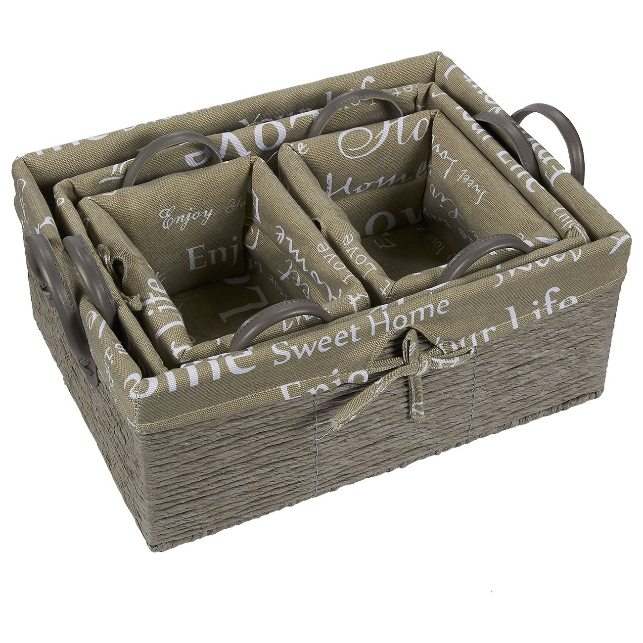 4-Piece Utility Storage Baskets Faux Leather Handles Decorative Organizing Baskets Shelves Small Medium Large Juvale Fabric Storage Container Gray Rope and Home Text Design Woven Nesting Bins