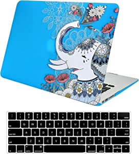 Funut MacBook Air 13 inch Case 2020 2019 2018 Release A2179 A1932 Crystal Clear Plastic Hard Shell Case & Keyboard Cover Shell Only Compatible for Mac Air 13 Retina Dispaly & Touch ID,Elephant