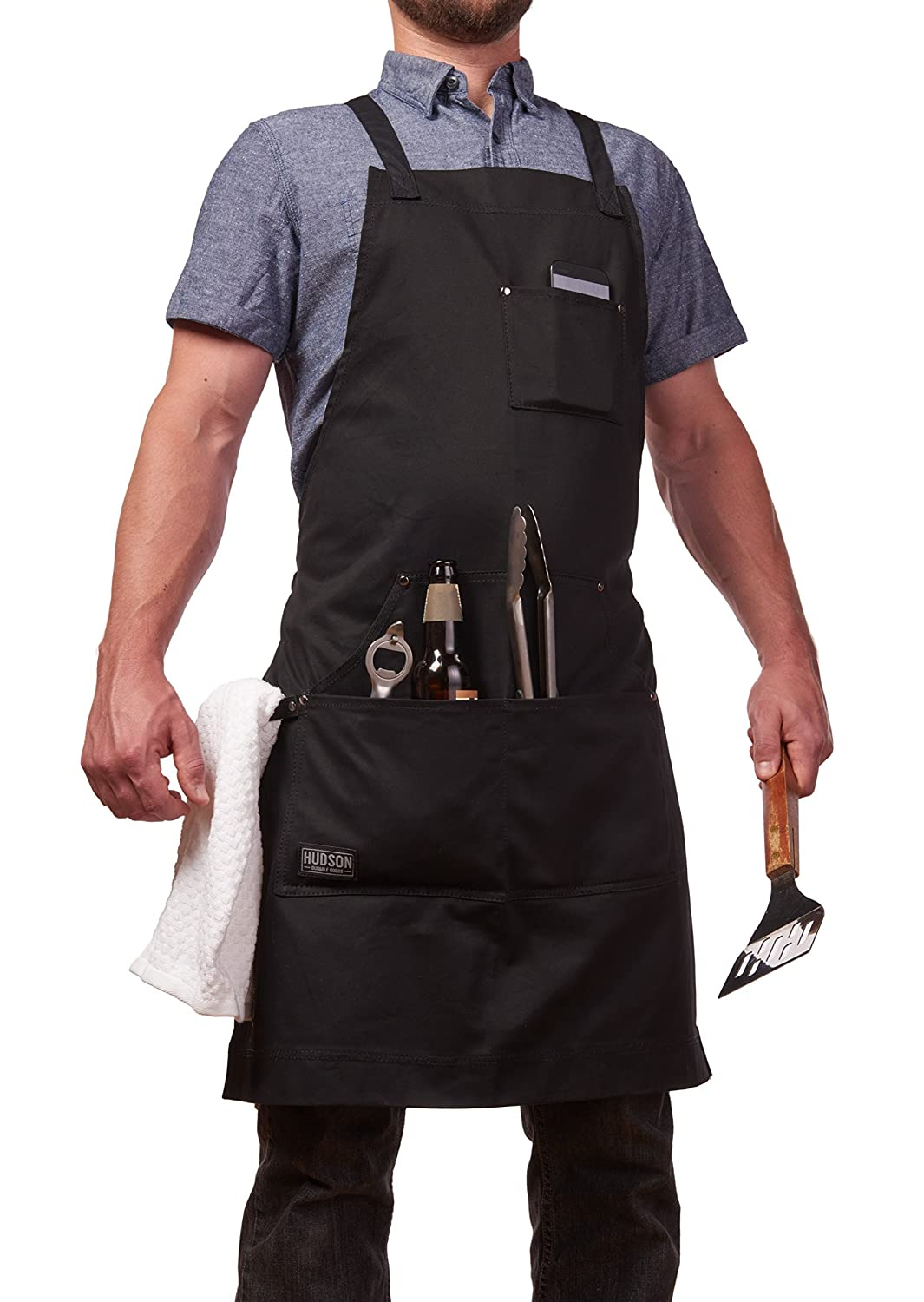 Hudson Durable Goods - Professional Grade Chef Apron for Kitchen, BBQ, and  Grill (Black) with Towel Loop + Tool Pockets + Quick Release Buckle,