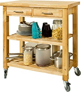 SoBuy FKW24-N,Rubber Wood Kitchen Trolley Cart with Two Drawers and Shelves, Kitchen Storage Trolley with Wheels