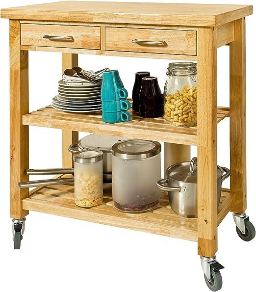SoBuy FKW53-N Desserte cuisine Table roulante en Bambou Chariot de cuisine L56xH92xP36cm