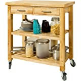 SoBuy® FKW24-N, Rubber Wood Kitchen Storage Trolley Cart with Two Drawers & Shelves, W80xD40xH90cm