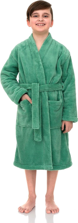 TowelSelections Boys Robe, Kids Plush Kimono Fleece Bathrobe: Clothing