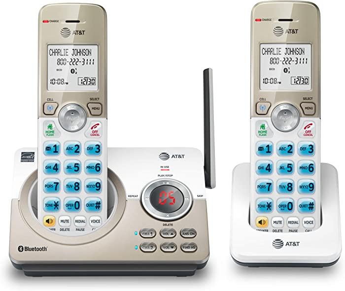 """AT&T DL72219 DECT 6.0 2-Handset Cordless Phone for Home with Connect to Cell, Call Blocking, 1.8"""" Backlit Screen, Big Buttons, intercom, and Unsurpassed Range"""