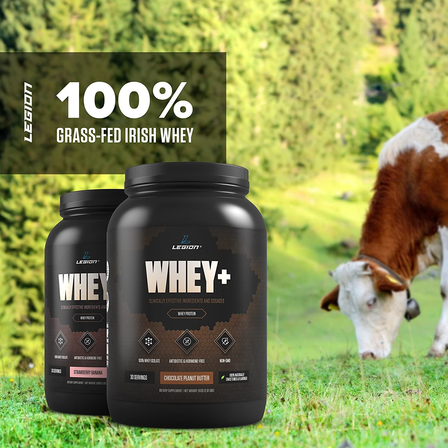 Legion Whey Strawberry Banana Whey Isolate Protein Powder from Grass Fed Cows – Low Carb, Low Calorie, Non-GMO, Lactose Free, Gluten Free, Sugar Free. Great for Weight Loss Bodybuilding, 30 Svgs.