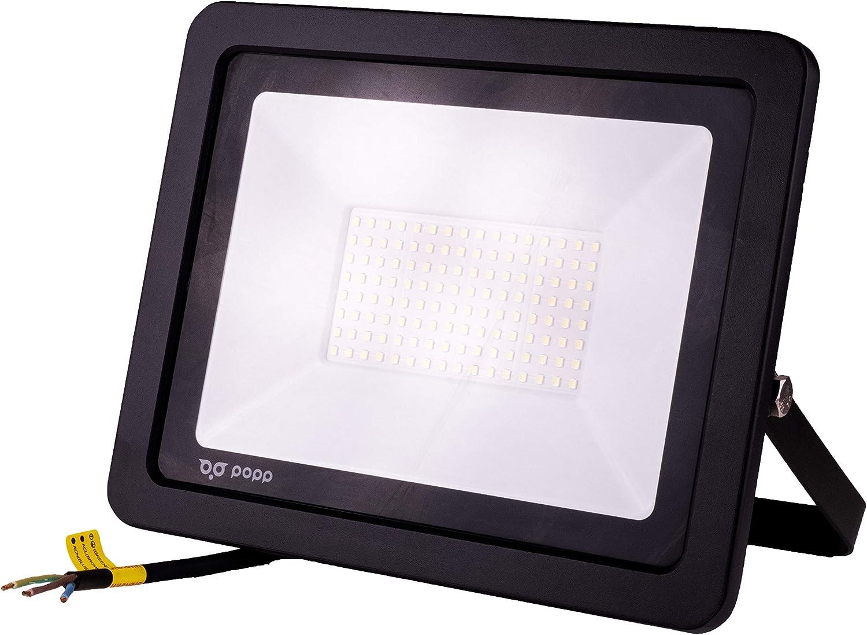 POPP® Foco Proyector LED 100W para uso Exterior Iluminación Decoración 6000K luz fria Impermeable IP65 Negro y Resistente al agua. (100): Amazon.es: Iluminación