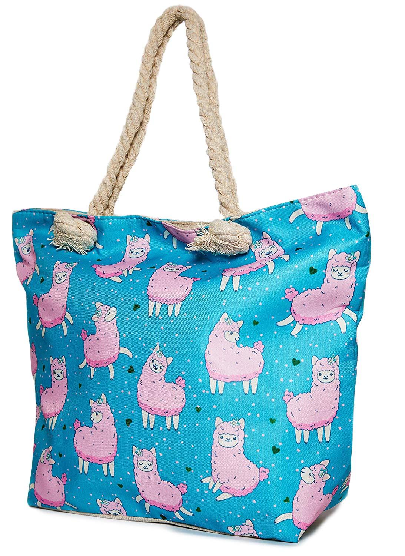 Amazon.com: Bolso para cesta de Lama – Azul con Lama Blanca ...