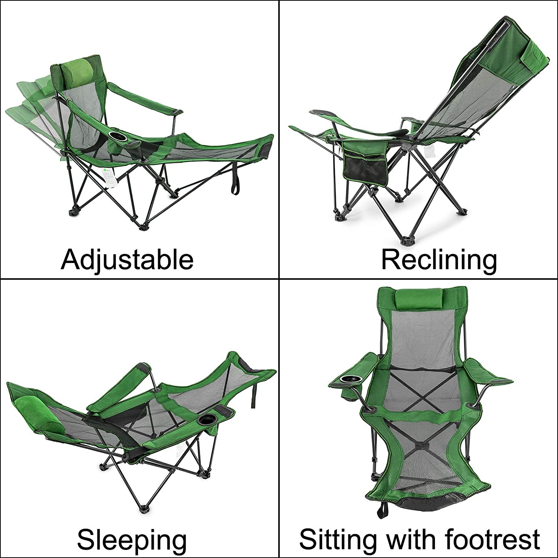 Khaki//Green Reclining Folding Camp Chair w// Footrest Lounge Sleep Beach Chaise