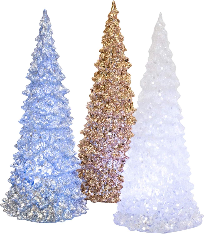 Transpac Imports, Inc. Light Up Tree Metallic Glitter 10 x 4 Acrylic Christmas Holiday Figurines Set of 3