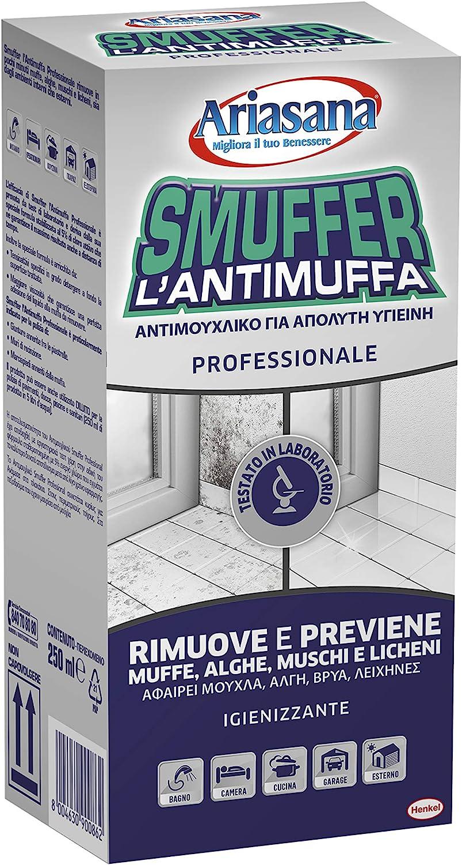 Ariasana Smuffer Antimuffa Professionale, Antimuffa spray adatto contro funghi, alghe e sporco, Anti muffa bagno, cantina e cucina ecc., per interni ed esterni, 1x250ml