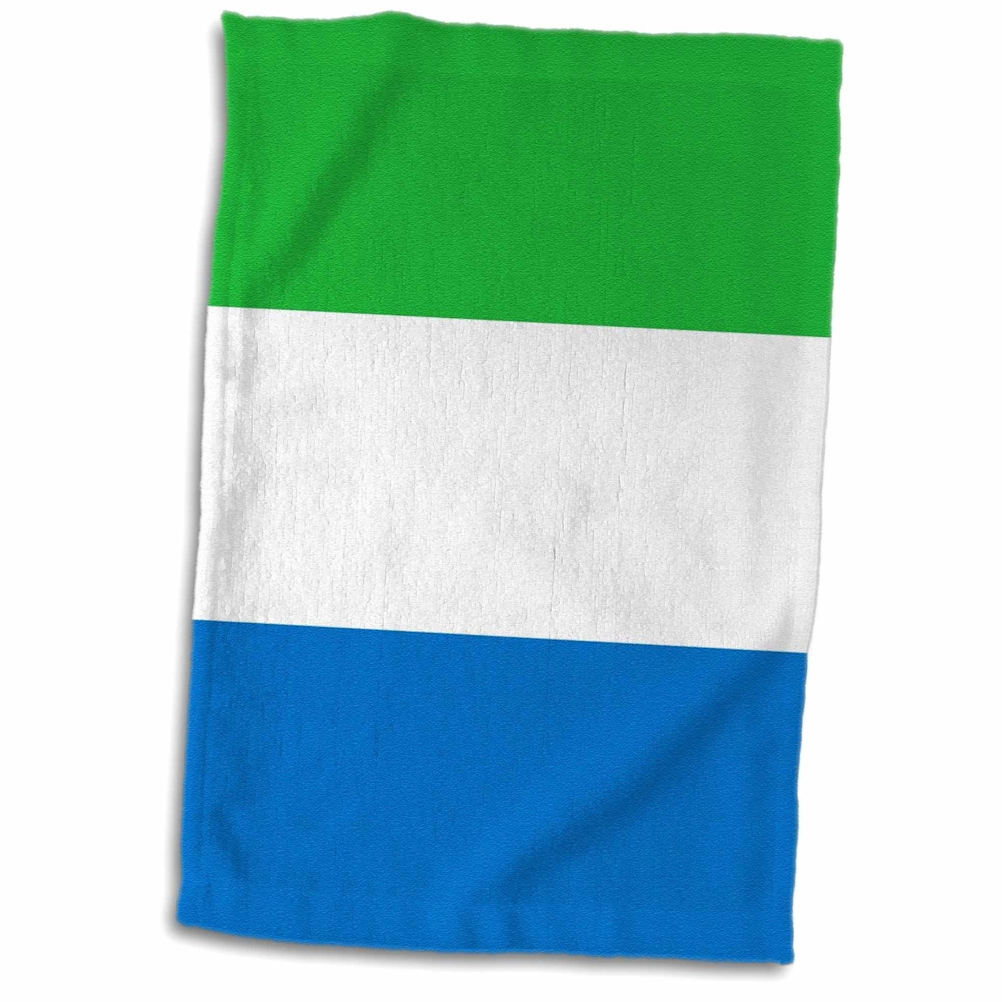 3D Rose Flag of Sierra Leone - Green White Blue Horizontal Stripes - West Africa Country African World Towel, 15'' x 22'', Multicolor