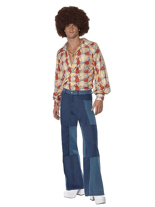 Uomo Anni 70.Smiffys Pantaloni Da Uomo A Campana Con Quadri Effetto Jeans Stile Anni 1970