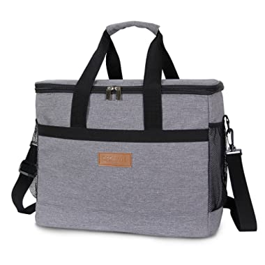 Lifewit 30L (50-Can) Soft Cooler Bag Lunch Bag Box, Insulated Travel Bag, Soft-Sided Cooling Bag for Beach/Picnic/Camping/BBQ, Grey