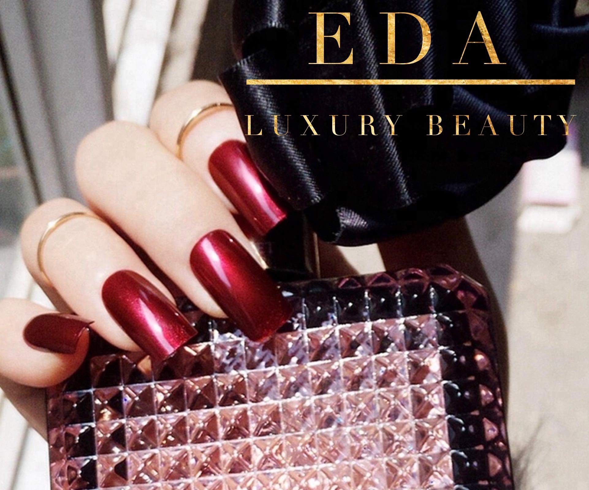 EDA Luxury Beauty Dark Red Burgundy Glamorous Design Gel Glitter Full Cover Press On Artificial Nail Tips Acrylic Perfect False Nails Shiny Shimmer Extra Long Square Super Gorgeous Fashion Fake Nails by EDA LUXURY BEAUTY