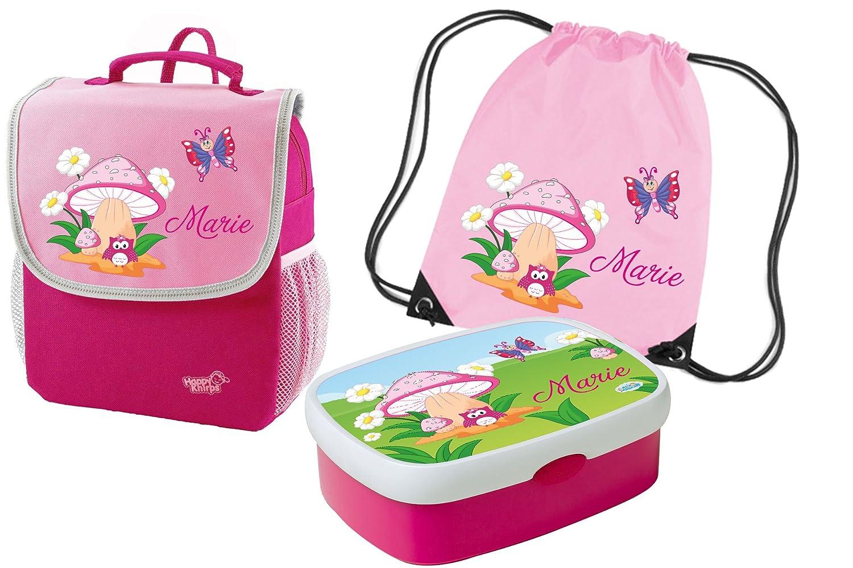 Mein Zwergenland Set 4 Kindergartenrucksack mit Brotdose und Turnbeutel Happy Knirps NEXT Mit Name Eule Pilz - 3-