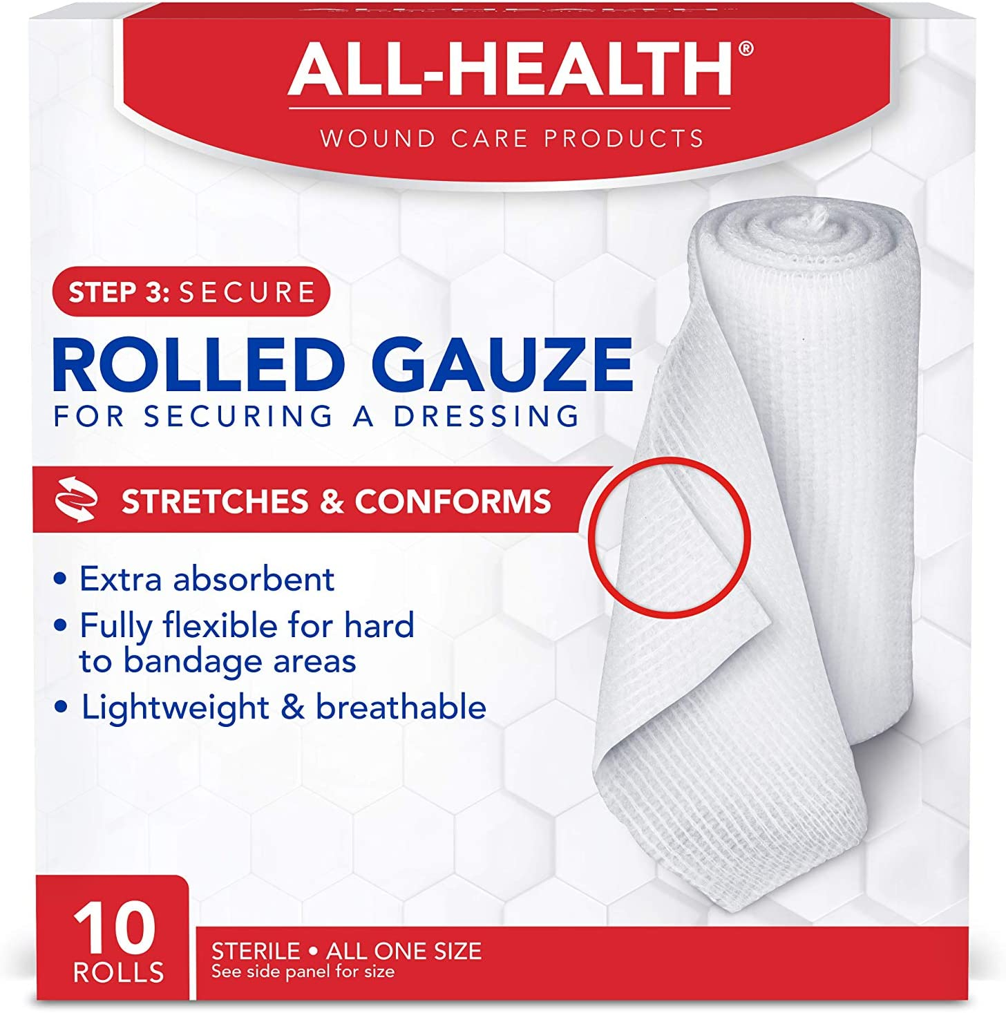 All Health Rolled Gauze Pads, 3 X 2.5 Yds | for Cleaning or Covering Wounds as Wound Dressing, Helps Prevent Infection, 10 Rolls: Health & Personal Care