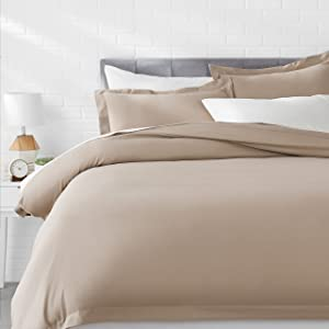AmazonBasics Light-Weight Microfiber Duvet Cover Set with Snap Buttons - King, Taupe