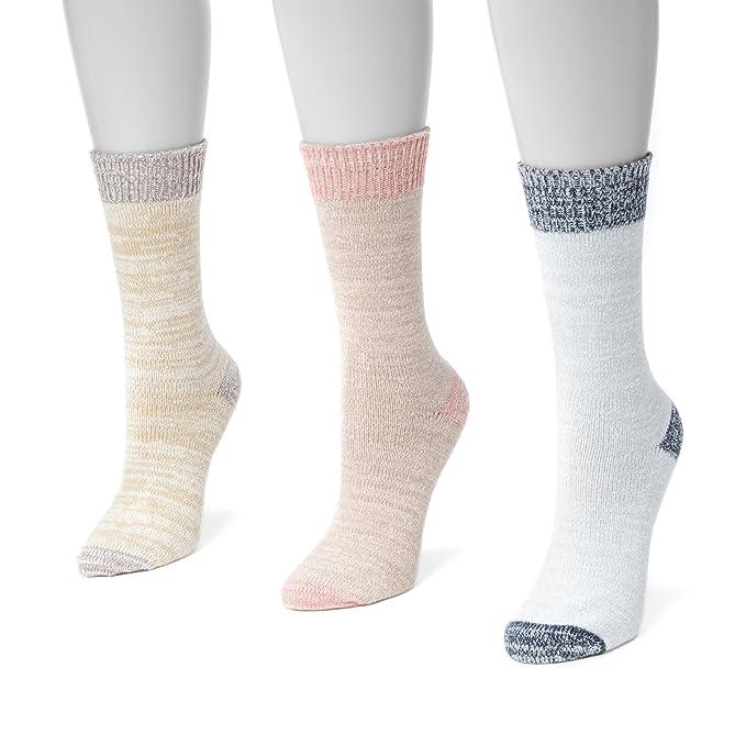 a613f799f Muk Luks Women's 3 Pair Pack Microfiber Boots Socks, Multi OSFM at ...