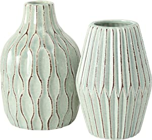 WHW Whole House Worlds Geometric Swirl, Green Vases, Set of 2, Textured Pale Pastel Green Vessels, Set of 2, Suffused Green Crackle Glaze, Stoneware, 8.25 Inches Each, Modern Home Design