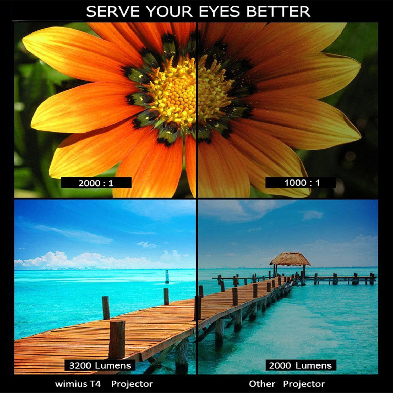 WiMiUS T4 Projector Full HD 3500 lumenes 1080P T4-Argent: Amazon ...