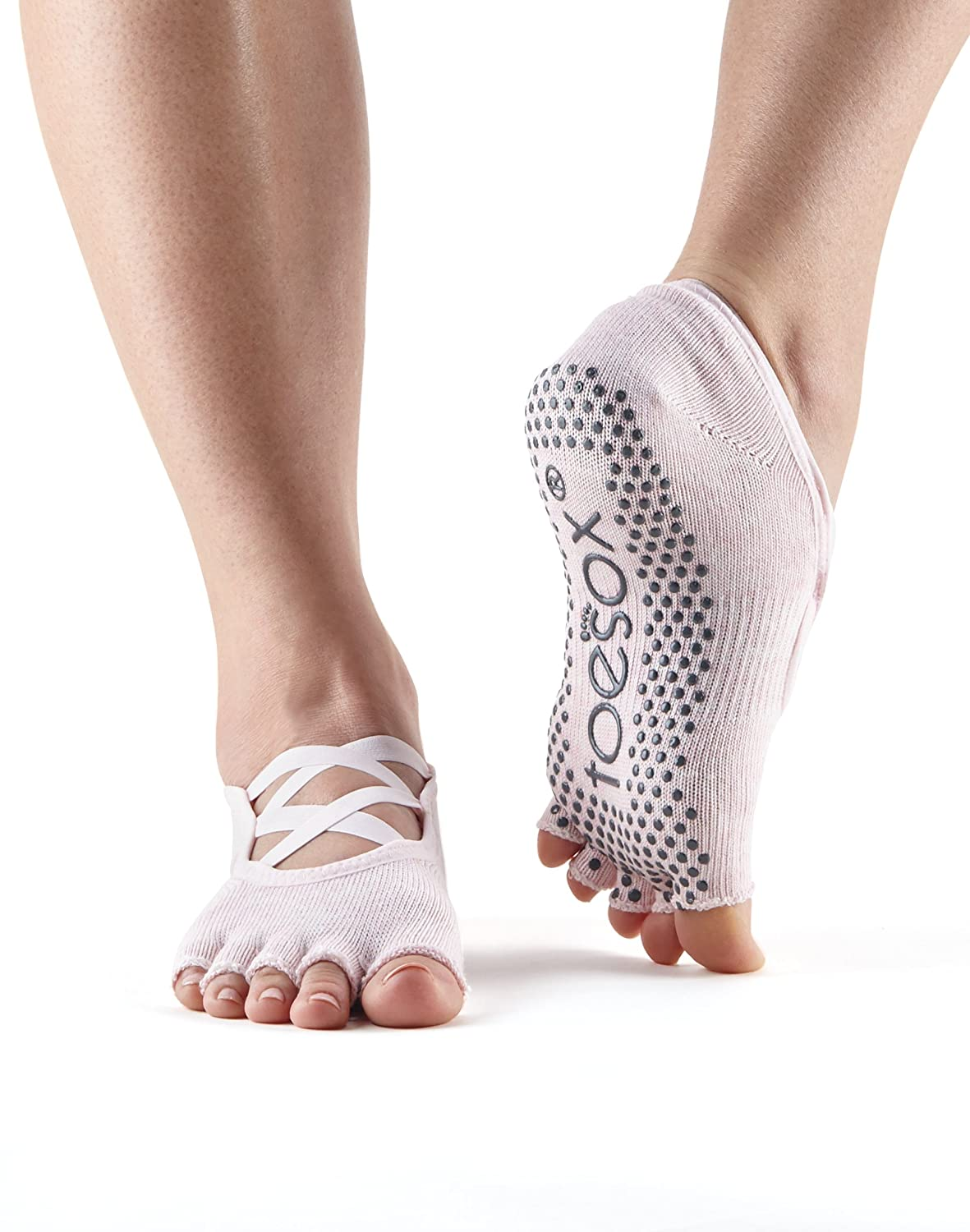 ToeSox Women's Elle Half Toe Grip Non-Slip with Criss Cross Elastic Toe Socks