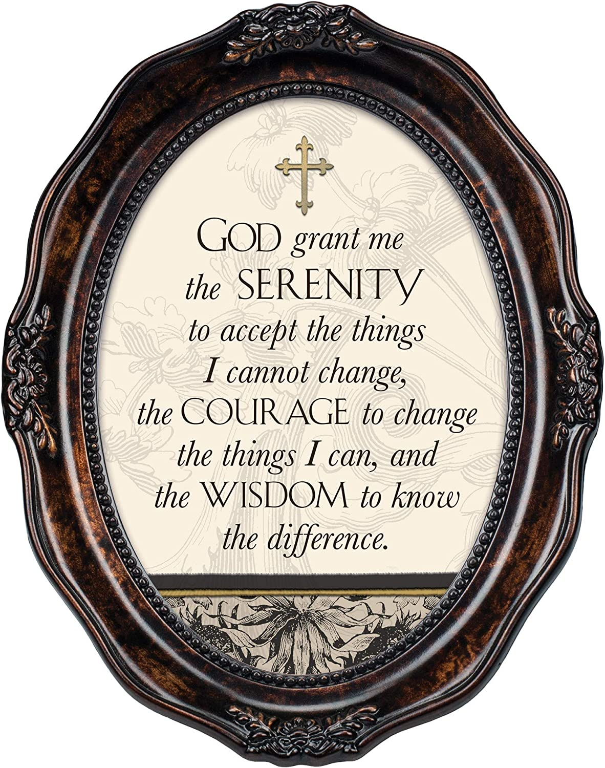 Cottage Garden God Grant Me The Serenity Burlwood Finish Wavy 5 x 7 Oval Table and Wall Photo Frame