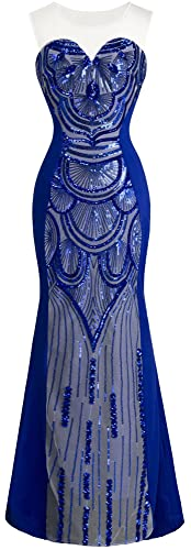 Angel-fashions Women's Round Neck Sequins Tulle Blue Mermaid Prom Dresses