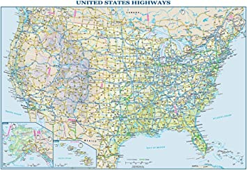 united states map with interstate highways Amazon Com Usa Interstate Highways Wall Map 22 5 X 15 75 Paper Office Products
